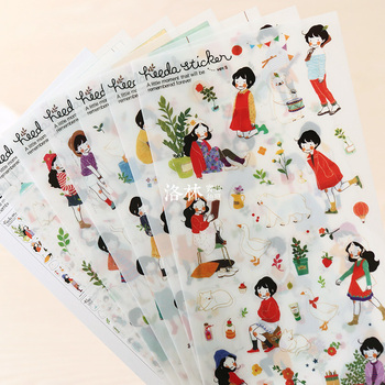 6 Sheets/set DIY Prerequisites Forestry Girl Diary Transparent PVC Decorative Stickers Photo Album Stickers image