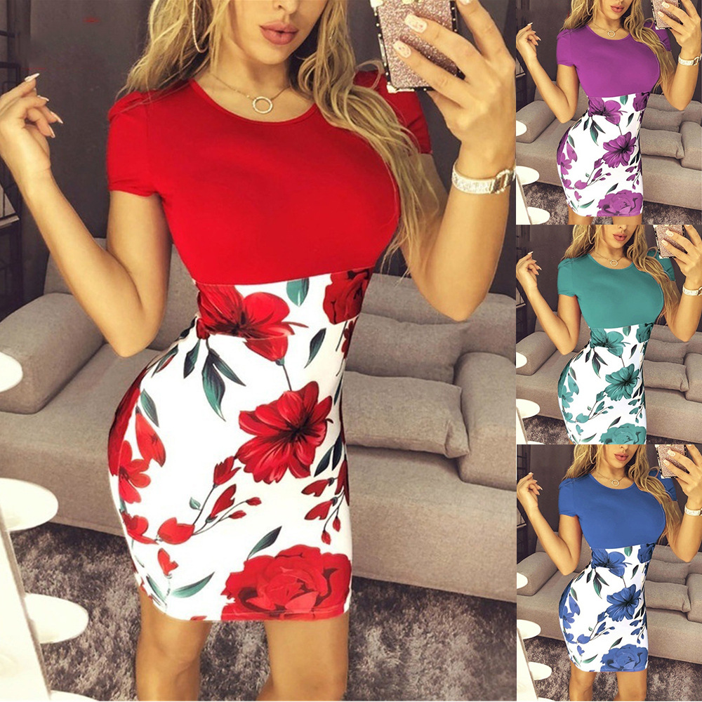Summer Sexy Slim Bodycon Mini Party <font><b>Dress</b></font> Casual Short Sleeve Splice Print <font><b>Dress</b></font> Knitted Vestidos 5XL Plus Size Women Clothing image