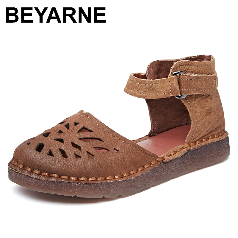 BEYARNE 2018 Ballet Summer Cut Out Women Genuine Leather Shoes Woman Flat Flexible Round Toe Nurse Casual Fashion Loafer wolf who 2017 summer loafers cut out women genuine leather shoes slip on shoes for woman round toe nurse casual loafer moccasins