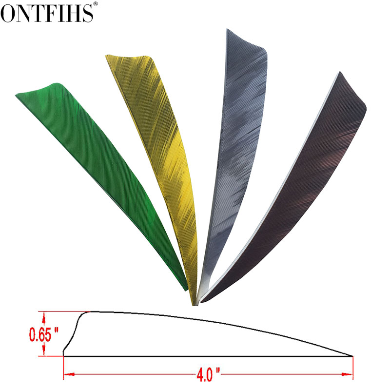 ONTFIHS 4 quot Double sided Striped Aechery Fletches Shield Cut Arrow Feather RW Multicolor Fletching Feathers 100PCS in Bow amp Arrow from Sports amp Entertainment