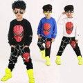 2016 Primavera e No Outono Roupas Meninos Crianças Define Tops de Manga Longa + Calça Two-piece Roupas do Homem-Aranha conjuntos Conjunto Esporte