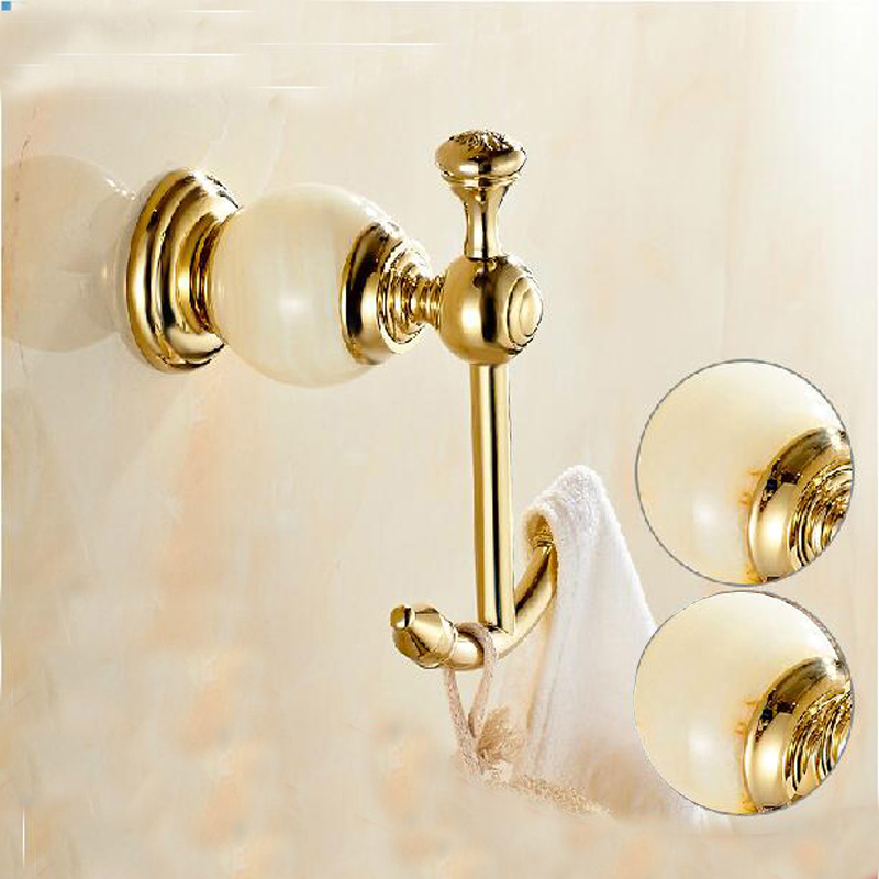 Free Shipping Wholesale And Retail Marble & Brass Golden Finish Bathroom Towel Hooks Coat Hat Hanger Dual Pegs free shipping wholesale and retail marble