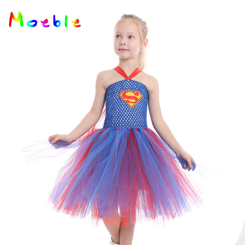 Red Blue Supergirl Girls Tulle Tutu Dress Princess Summer Dress Halloween Children Cosplay Costume Baby Kids Party Dresses