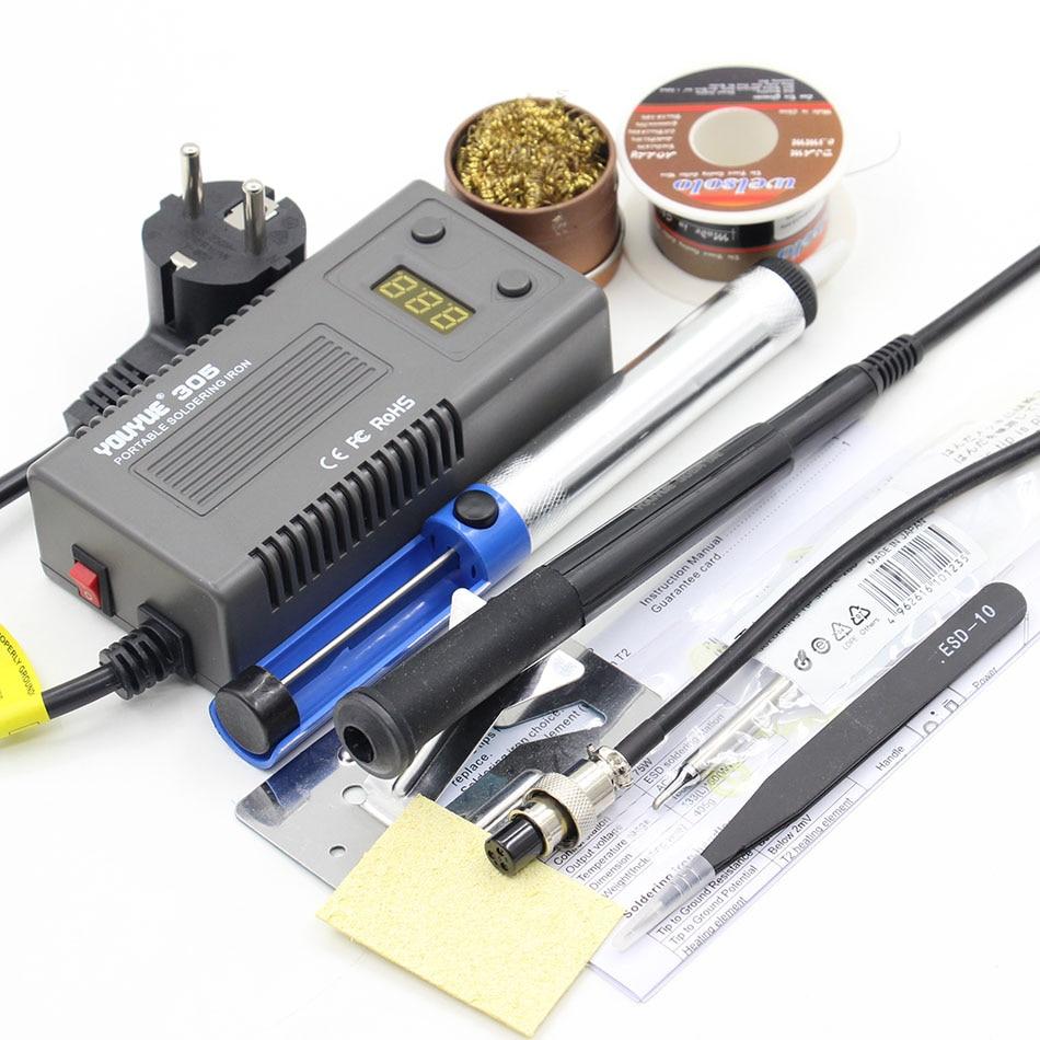 youyue 305 mini portable digital soldering station electric solder iron t12 tips heating core. Black Bedroom Furniture Sets. Home Design Ideas