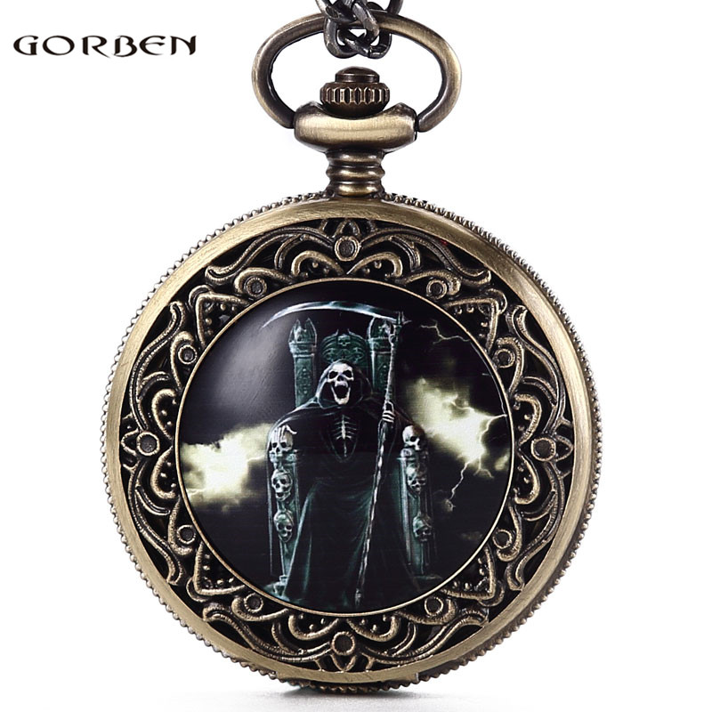 Gorben Vintage Skull Death Holding A Sickle Sit In The Chair Design Quartz Pocket Watch Fob Chain Pendant Women Mens Gift Go61 Good Reputation Over The World Watches