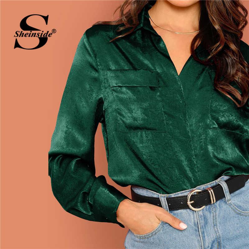 b0ec5b150b ... Sheinside Green Elegant Blouse Flap Pocket V Neck Satin Top Women Long  Sleeve Shirts OL Work ...
