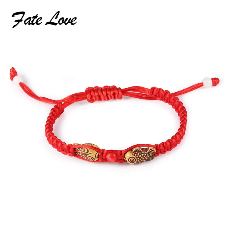 Fate Love 1pc Creative Women Jewelry Knitting Red Rope Double Fish Bracelet Chinese Style Jewelry Gift Newest Fashion