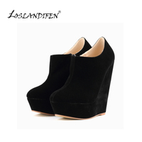 WOMEN ELEGENT PLATFORM HIGH HEELS SUEDE SHOES ANKLE BOOTS WEDGES US 4 11 391 5VE
