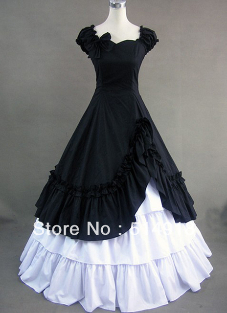Tomsuit Black and White Puff Sleeves Gothic Victorian Prom Dresses ...