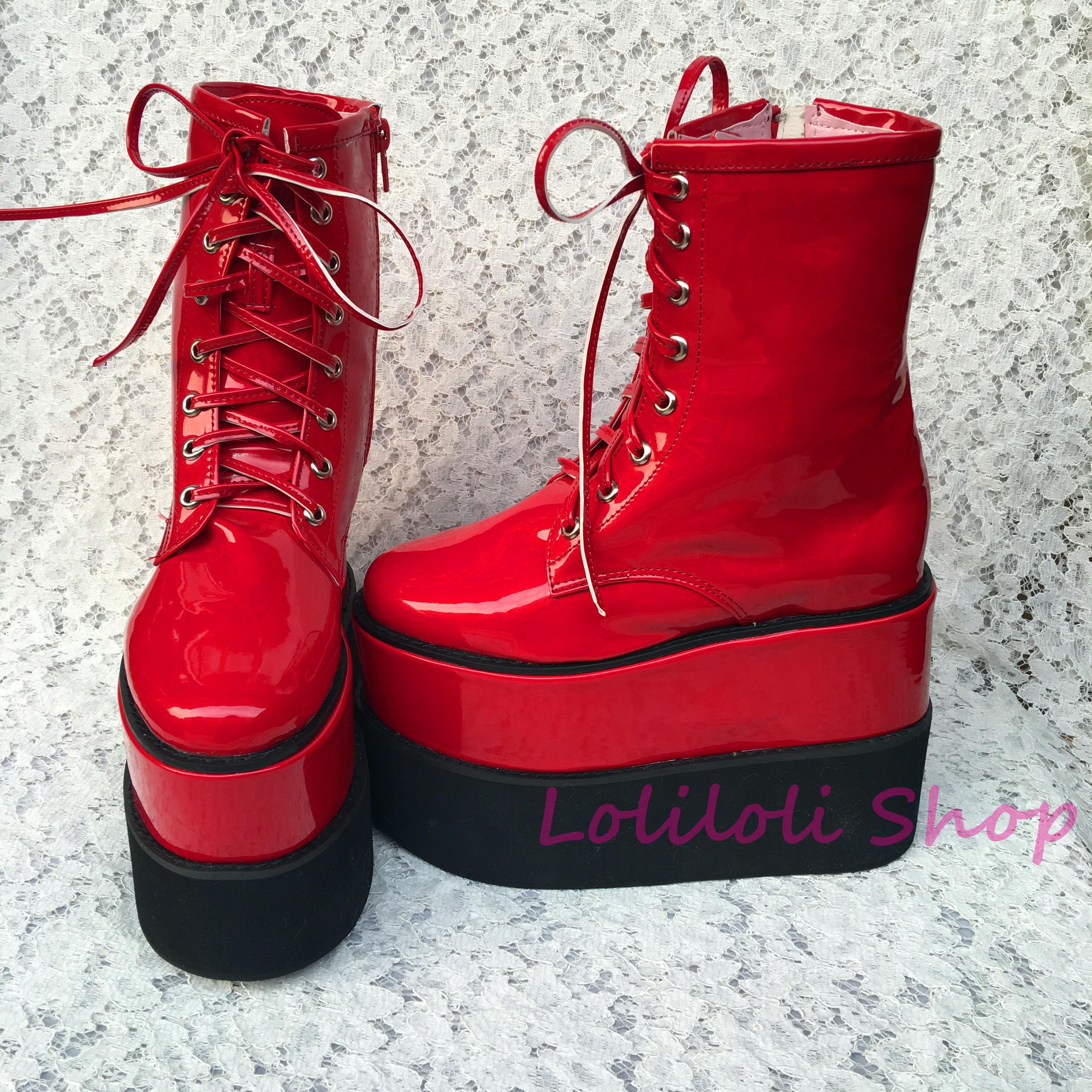 Chaussures lolita princesse douce Lolilloliyoyo antaina chaussures design japonais personnalisé fond épais rouge peau brillante chaussures haut 1391n