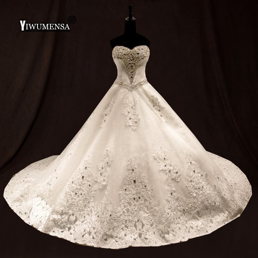New Vestido De Noiva 2018 Royal Train Wedding Dresses