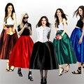 Brand New 7XL Plus Size plissadas senhoras do Vintage longo de cintura alta Saia Feminino Retro brilhante alargamento bola Grown Skater escola Saia