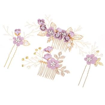 Accesorios para el cabello de novia hecho a mano horquilla de pelo perla flor Zinc aleación novia boda tocado CX17