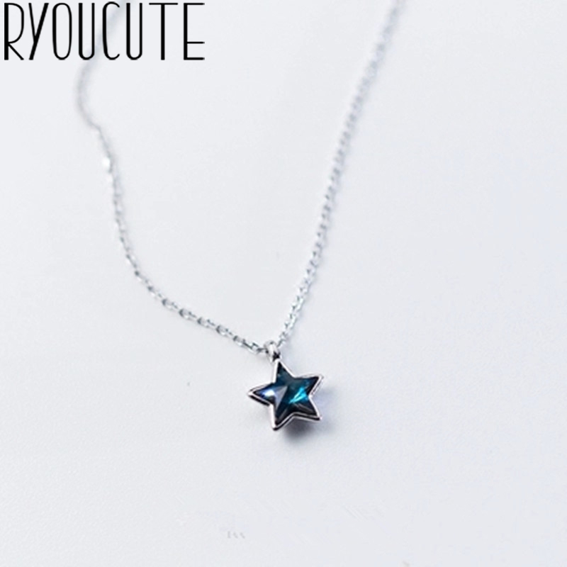 Gargantilla larga Bohemia con estrella azul, collar bohemio de Color plata auténtica para mujer, joyería de boda, regalo, joyas de plata