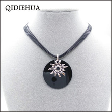 QIDIEHUA Fashion Silver Germany Sunflower Pendants Necklaces Black Circular Charm Necklace Women rope Wholesale