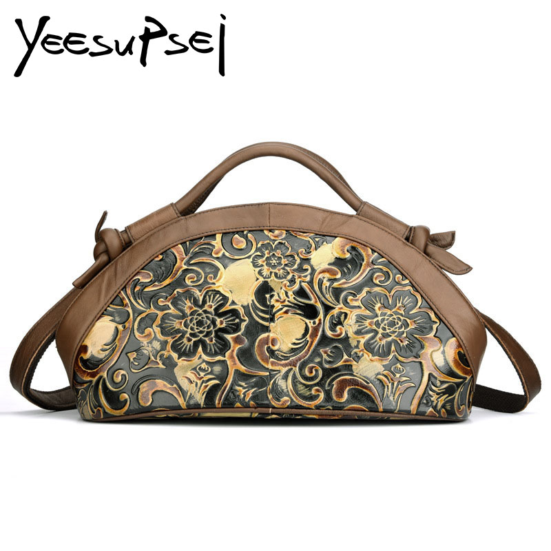 ee2d8a22fa2a YeeSupSei Fashion Floral Pattern Half Moon Bag Genuine Leather Small Luxury  Handbag Female Vintage Designer Hobos Messenger Bag