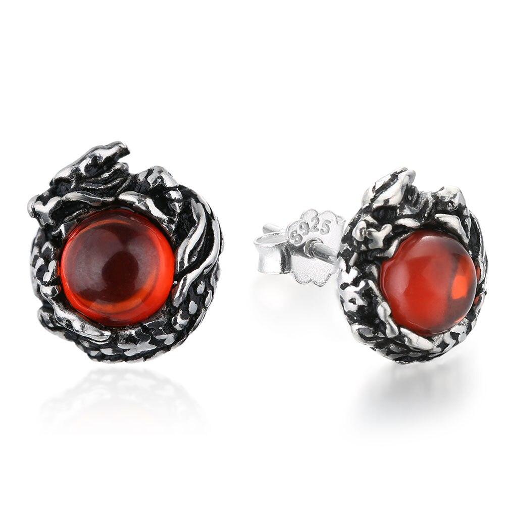86578e0fe747a US $6.74 10% OFF|Genuine 100% Pure 925 Sterling Silver Dragon Stud Earrings  925 Silver Punk Earrings for Men Garnet Stone Men Jewelry HYE 02-in Stud ...