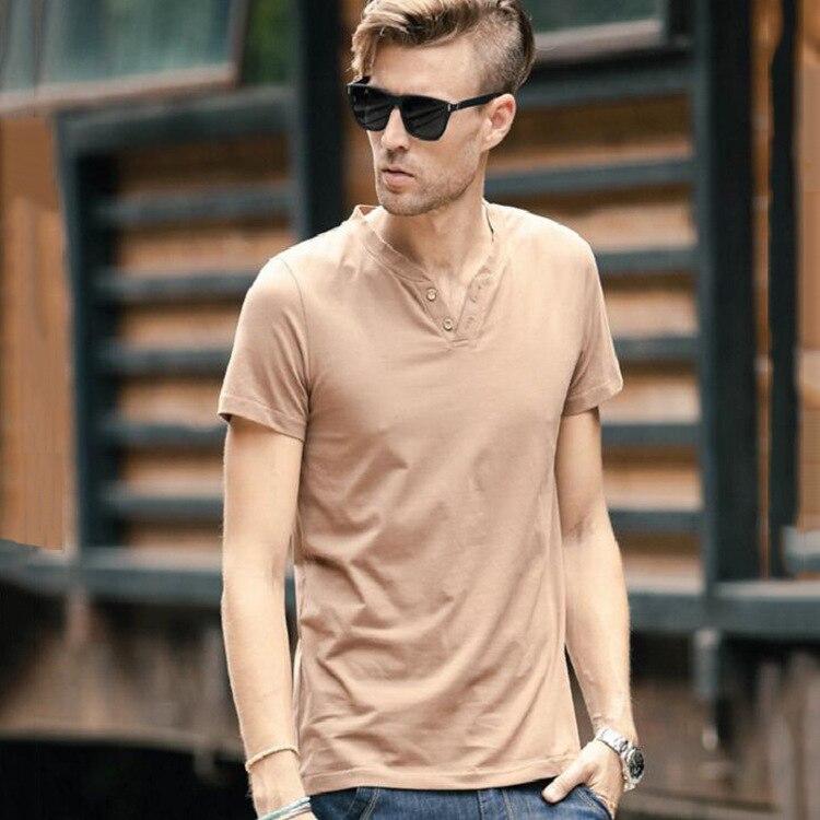 2018 сезон весна-лето новых людей с короткими рукавами V для мальчиков из чистого хлопка с короткими рукавами футболки