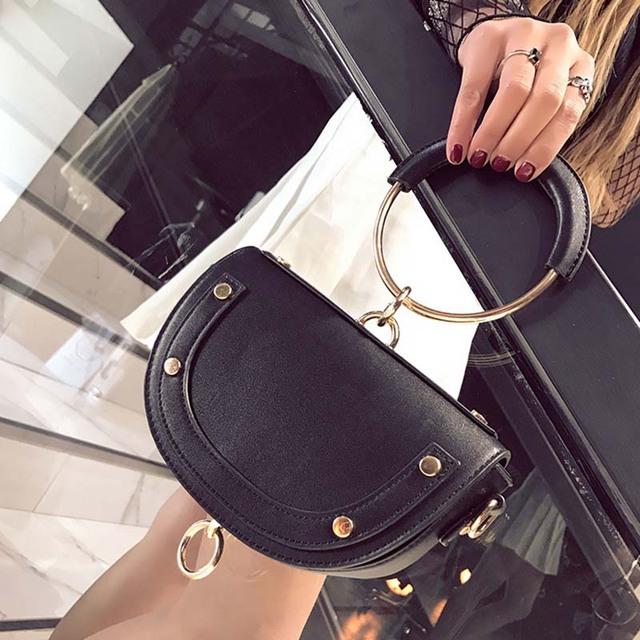 HOCODO New Simple Saddle Bag Quality Luxury Handbag Crossbody Bags For Women Fashion Mini Shoulder Bag Ring Hoop Handbag