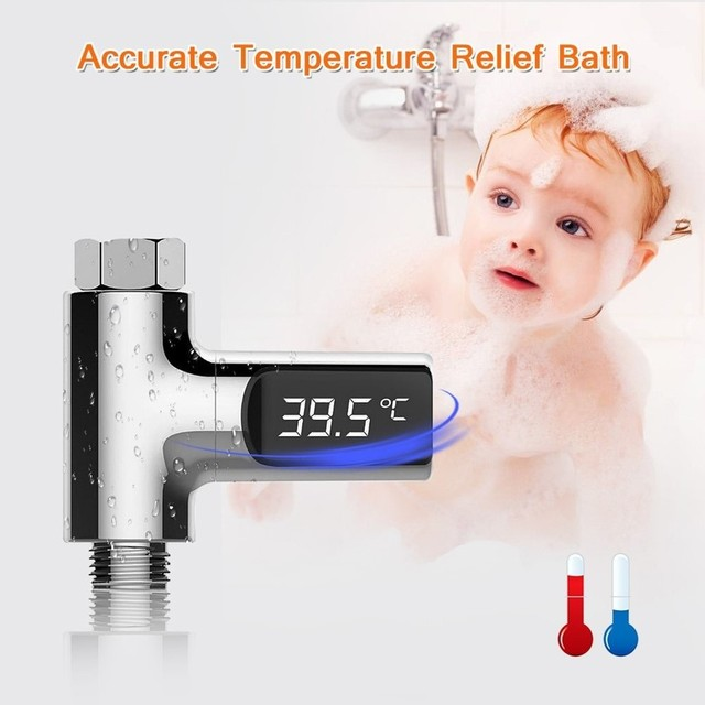 Led Display Water Shower Thermometer LED Display Home Water Shower Thermometer Flow Water Temperture Monitor For Baby Care