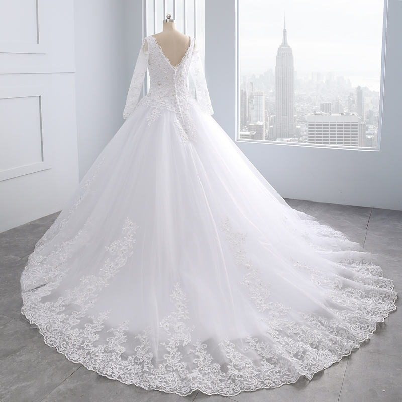 Miaoduo Backless Lace Ball Gown Wedding Dresses 2019  Appliques Pearls Cheap Bridal Gowns vestido de noiva princesa Custom made