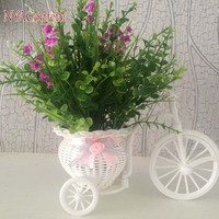 Artificial Potted Flowers Set,Fake Grass(2Bouquets)+Eucalyptus(2) In Decorative Plastic Rattan Tricycle,Bike Flower Pot,Vase,
