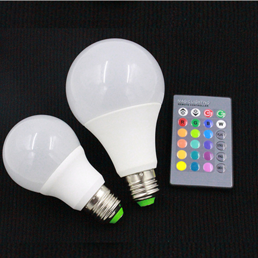 E27 B22 RGBW LED Bulb Lights 4W 7W 10W 15W 110V 220V Lampada Changeable Colorful RGB LED Lamp With IR Remote Control+Memory Mode