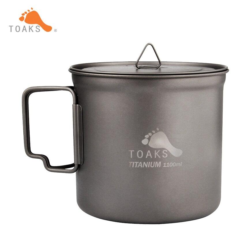 TOAKS 1100ml Titanium Pot Outdoor Camping Ultralight Titanium Bowl Titanium Cup with Cover POT 1100 Mesh