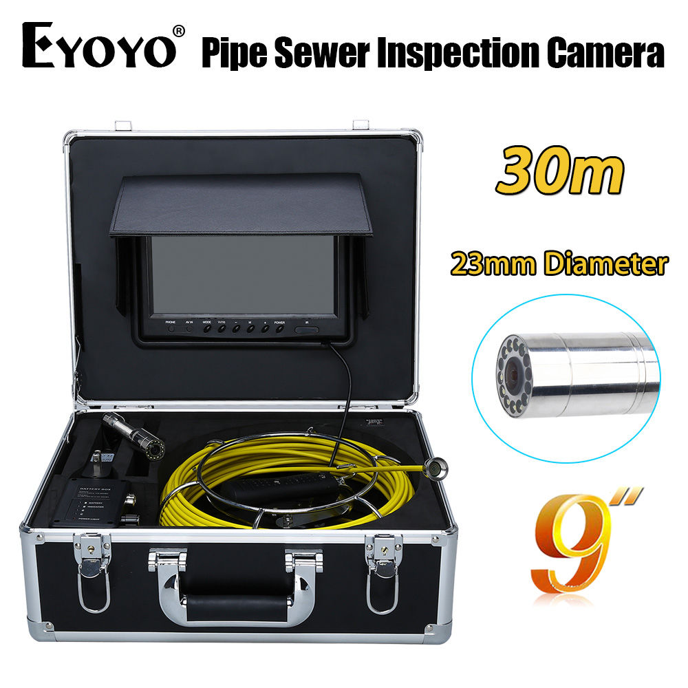 Eyoyo 30M 9 LCD 23mm Wall Drain Sewer Pipe Line Inspection Camera System CMOS 1000TVL Snake Endoscope HD TFT Color Sun shield dhl free wp90 50m industrial pipeline endoscope 6 5 17 23mm snake video camera 9 lcd sewer drain pipe inspection camera system