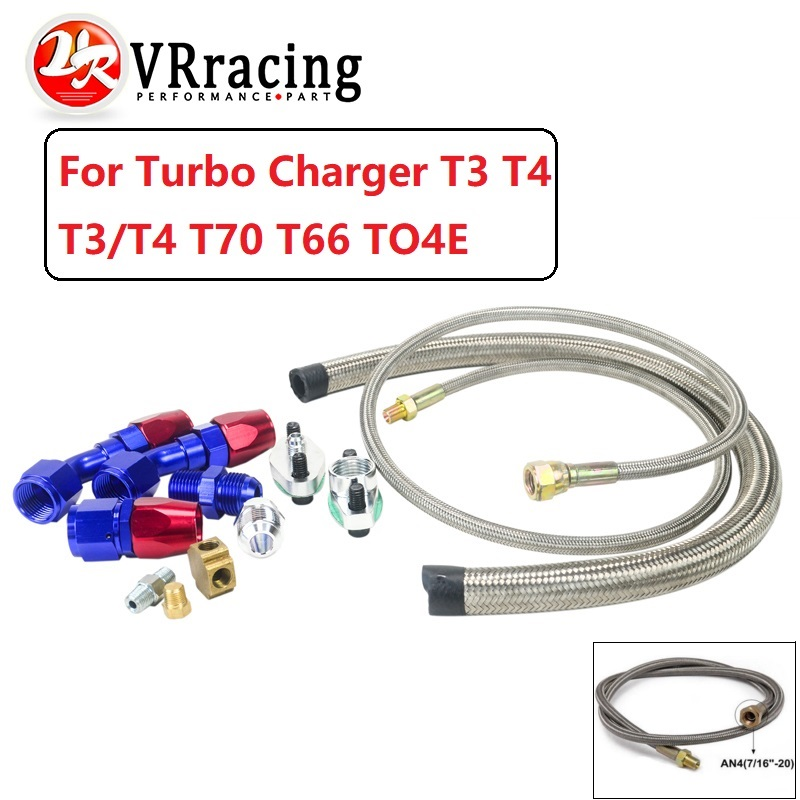 VR RACING   Turbo Oil Feed Line Oil Return Line Oil Drain Line Kit For Turbo charger T3 T4 T3/T4 T70 T66 TO4E  VR TOL21|kit blue|vr racing|turbo oil feed line - title=