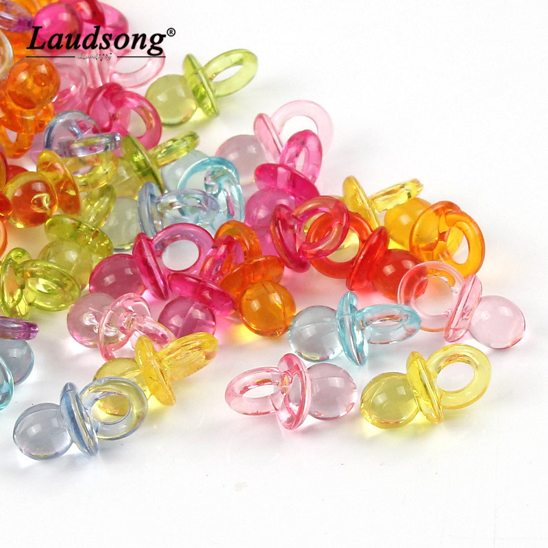 Baby Shower 25 x DARK PINK CRYSTAL Dummy Pacifier Faceted Acrylic Charms