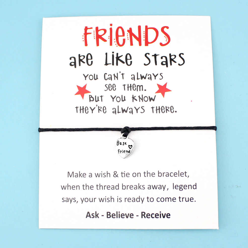 Best Friends Like Stars Heart Thank You Mom Mum Bee Silver Charm Card Bracelets Pink Women Men Handmade Fashion Jewelry Gift