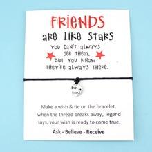 Best Friends Like Stars Heart Thank You Mom Mum Bee Silver Charm Card Bracelets Pink Women Men Handmade Fashion Jewelry Gift