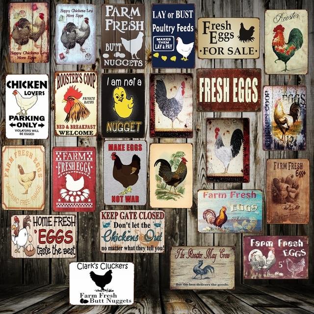 5525963895043   Mike86   Happy Chickens Lay More Eggs Metal Sign Home Store Farm Decor  Retro Animal