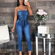 Women Bowknot Denim Jumpsuit Sleeveless Slim Summer Streetwear High Waist Casual Playsuit