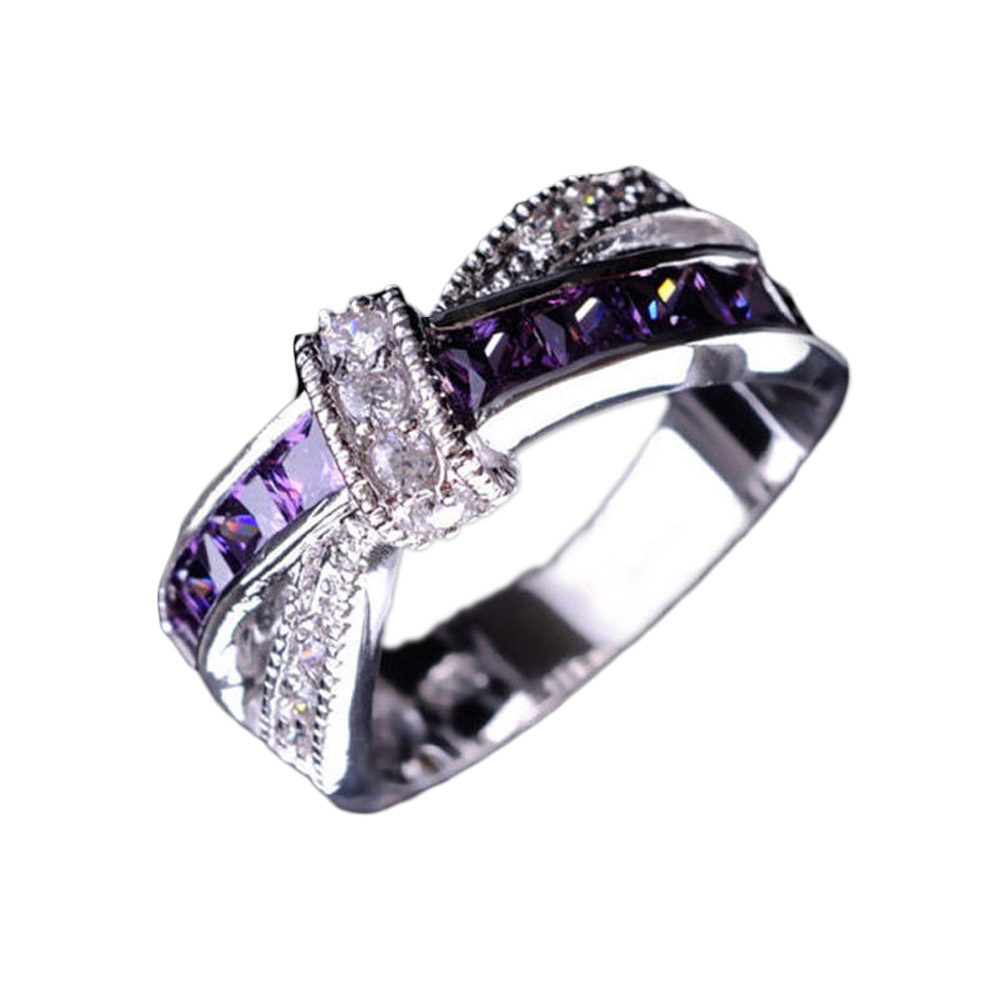 Crossed crystal Wedding Engagement Ring Wholesale Cross Finger Ring Luxury Purple Jewelry
