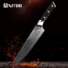 XITUO Damascus best chef knife Utility Kitchen Knife Japanese VG10 Steel Sharp Blade G10 Handle Cleaver High-Quality CookingTool