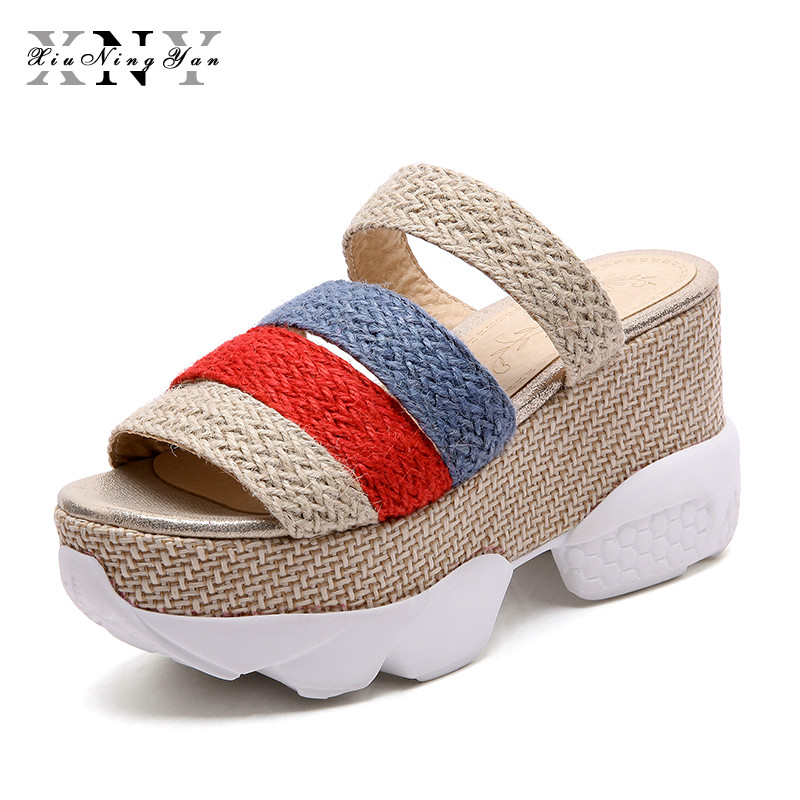 Plus Size 43 Fashion Sandals Summer Wedges Women's Sandals Hemp Platform Open Toe High-heeled Women Shoes Female Zapatos Mujer plus size 34 44 summer shoes woman platform sandals women rhinestone casual open toe gladiator wedges women zapatos mujer shoes