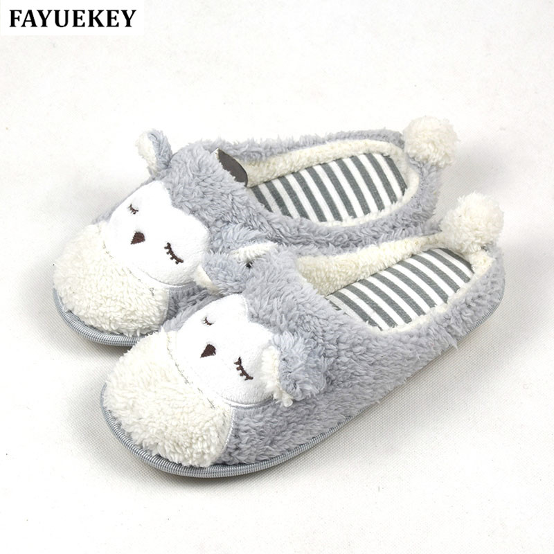 2018 New Spring Autumn Winter Home Cartoon Owl Cotton Plush Slippers Women Indoor\ Floor Warm Slippers Flat Shoes Girls Gift vanled 2017 soft sole spring autumn winter warm home cotton plush striped slippers women indoor floor flat shoes girls gift
