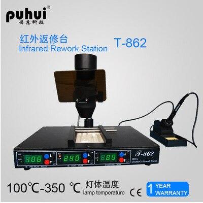 Haute Qualité PUHUI T862 110 v/220 v 800 w Infrarouge bga machine de reprise, BGA SMD SMT Station De Reprise De dessoudage, vente chaude