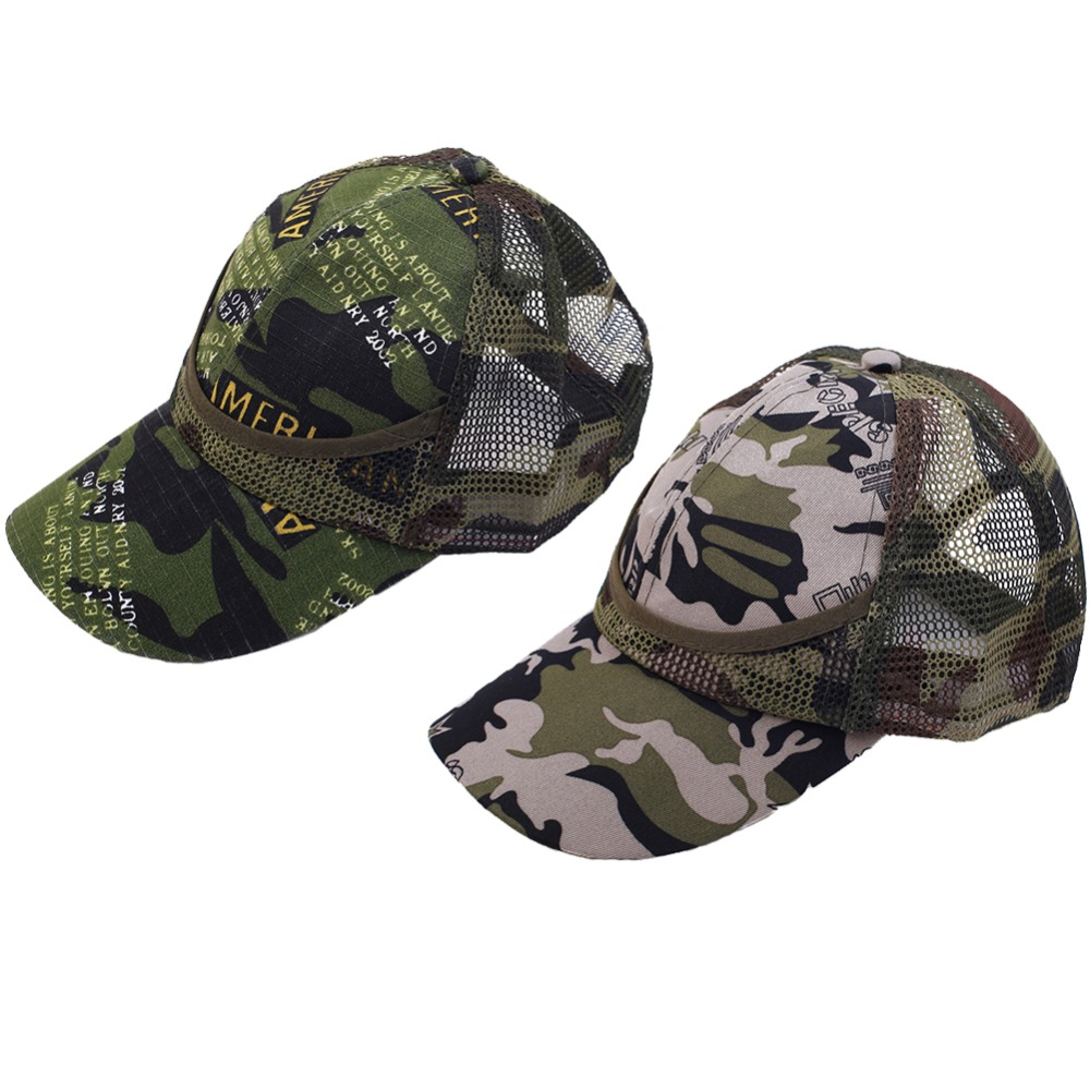 Kids Mesh Baseball Cap Sun Protection Camouflage Sun Hat for Summer with Adjustable Snap Closure