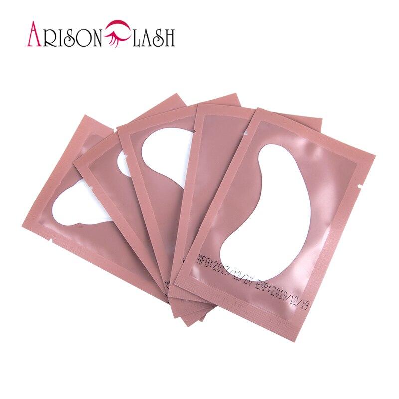 Caliente 50 pares eyelash extensión papel Parches injertado ojos Adhesivos 5 color pestaña bajo el ojo pads papel ojo Parches consejos etiqueta