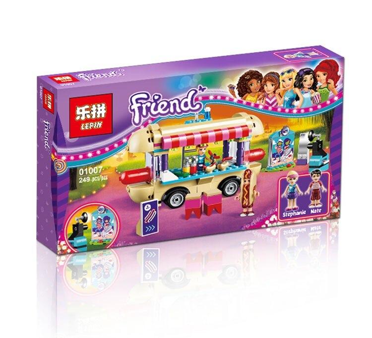 Lepin 01007 Girl Friend <font><b>Amusement</b></font> <font><b>Park</b></font> <font><b>Hot</b></font> <font><b>Dog</b></font> <font><b>Van</b></font> Building Blocks set Kids Bricks Gift Toys Compatible with legoe friends 41129
