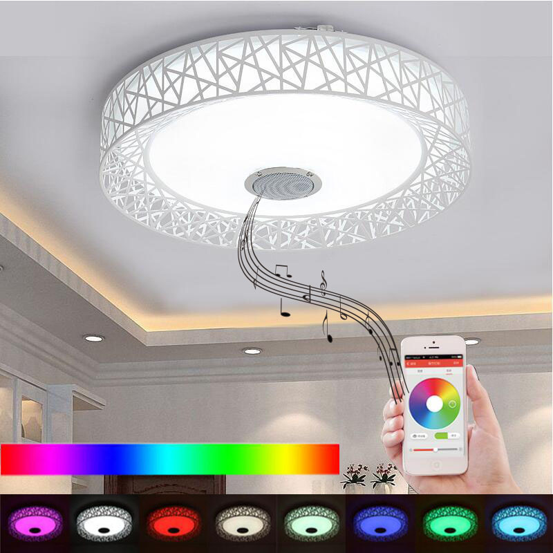 APP LED plafonnier avec haut-parleur Bluetooth 24 W musique fête lampe déco chambre musique luminaire avec télécommande