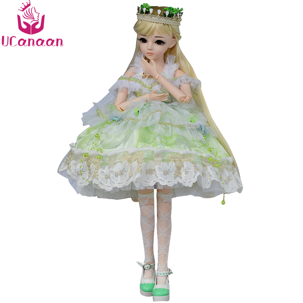 UCanaan 24 1/3 BJD Doll SD Dolls With Beauty Dress Shoes Wig Makeup Full Outfits 18 Ball Jointed Dolls Toys for Girls Gift