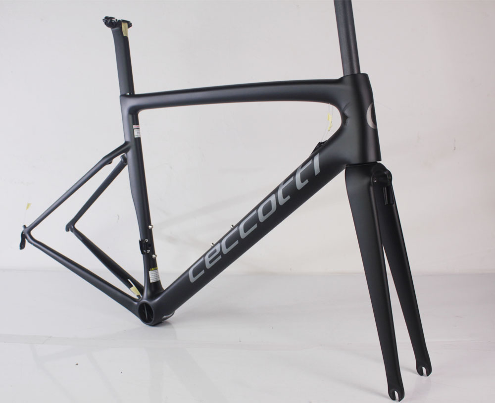 Grey Ceccotti road bike frame DI2 and mechanical direct mounted brake style carbon road frame