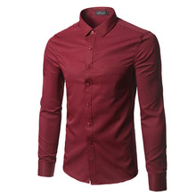 Spring Classical Design Cotton Men Dress Casual fit Shirts Business Formal Male Social Long Sleeve Solid Pure Color Shirts  Mens