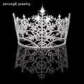 ZerongE jóias Cristais Austríacos Reais Mulheres Princesa Tiara Coroa círculo completo Do Floco De Neve de Natal jóias Cabelo tiara e coroa