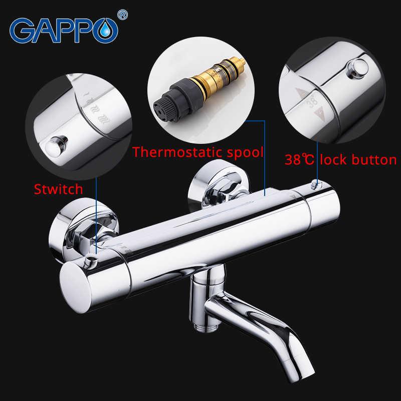 GAPPO ก๊อกน้ำอาบน้ำ bath ผสมเทอร์โมติดผนังห้องอาบน้ำฝักบัวก๊อกน้ำ thermostatic น้ำ Mixer bath griferia