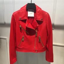 Fashion Real Leather Jacket Women Classic Female Leather Jacket Locomotive Style Red Black Color Women's Genuine Sheepskin Coat